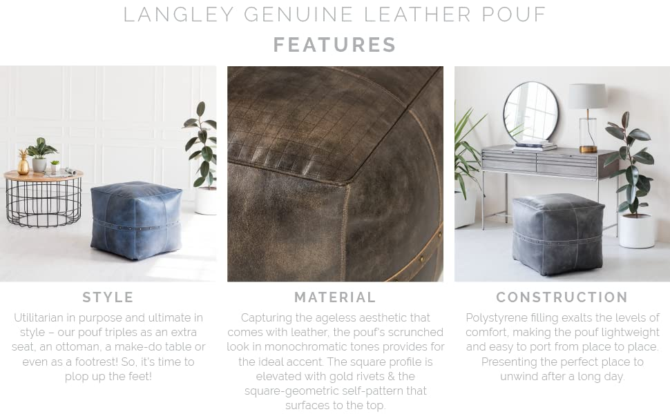 Langley Genuine Leather Pouf