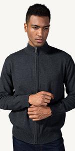 cotton full zip up sweater
