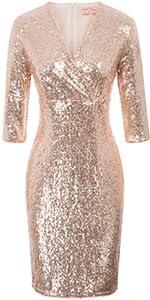 sequin dress rose gold