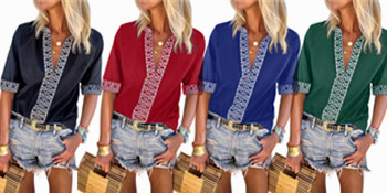 LOSRLY Womens V Neck 3/4 Sleeve Boho Embroidered Summer Casual Shirts Loose Blouse