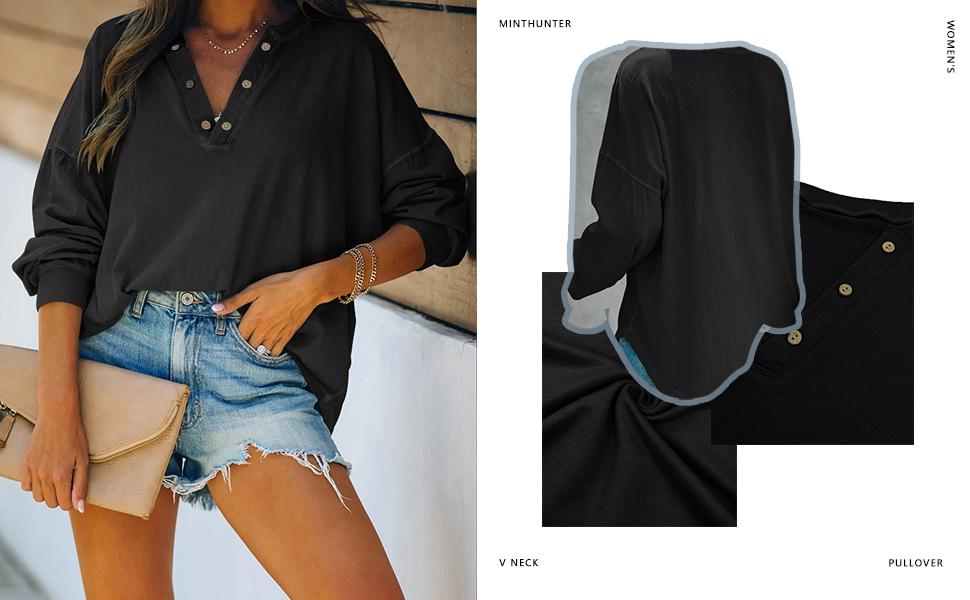 Minthunter Women's Long Sleeve Pullover V Neck sweatshirt lightweight fall button top