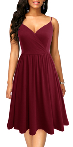 Women's Spaghetti Strap Flowy A-Line Swing Dresses with Pockets Casual Summer Sundress Sleeveless