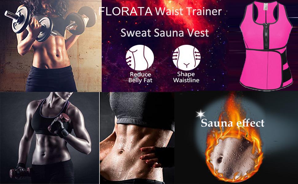Neoprene Sauna Sweat Vest for Women, Waist Trainer Corset Trimmer Vest with Belt for Weight Loss