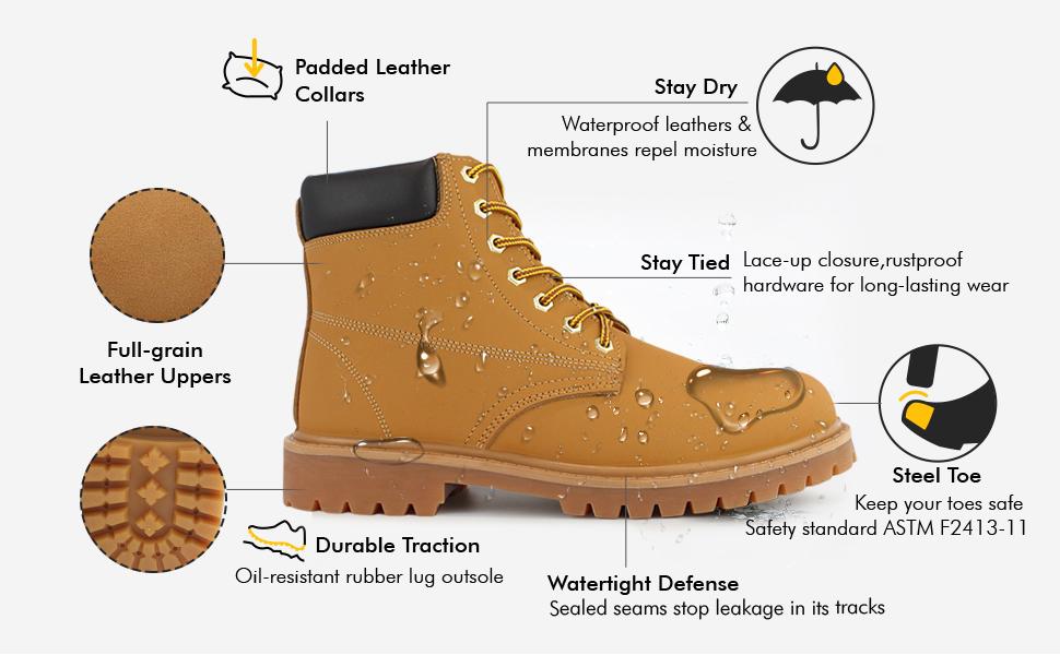 Hawkwell Men's Steel Toe Safety Waterproof Leather Work Boot