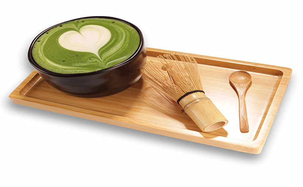Matcha tea serving tray bamboo spoon chasku board tea cheese board