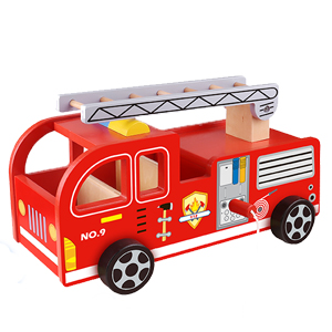 toychest wooden fire truck toy