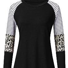 leopard stripe color block sleeve tops