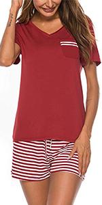 stripe pajamas top and shorts