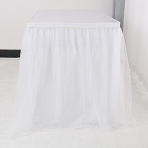 6ft 9ft 14ft Tutu Table Skirts Mesh Tulle Table Skirting Fluffy for Birthday Party, Wedding