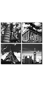 Leaning Tower of Pisa Eiffel Tower Parthenon London Big Clock City Landscape retro cityscape Poster