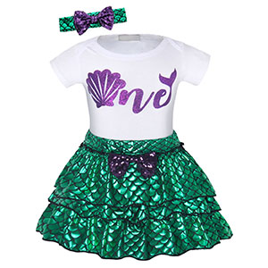 3pcs mermaid princess costume outfits dress up cosplay clothes party Halloween HG076-116