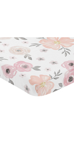 Pink and Grey Baby Fitted Mini Portable Crib Sheet Watercolor Floral Collection