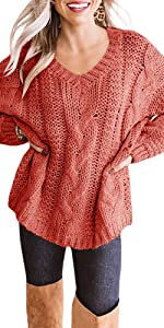 Womens Plus Size Chunky Cable Knit Sweaters V Neck Batwing Sleeve Loose Slouchy Pullovers Tops