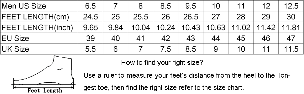 APTESOL Men's Running Shoes Size Chart