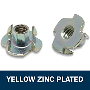 yellow zinc plated t nuts