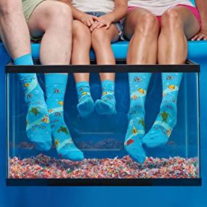aquarium, fish, turtle, sea, ocean, socks, kids, men, women, clownfish, starfish, underwater