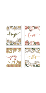 Vintage Floral Boho Wall Art Prints Room Decor for Baby, Nursery, and Kids - Set of 4