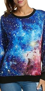 ACEVOG Women's Long Sleeve Pullover Hooded Cute 3D Galaxy Printing Sweatshirts Casual Tunic Top