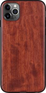 iATO iPhone 11 Pro Max Case. Real Natural Dark Rose Wood Cover. Fully Protective Shockproof Classy
