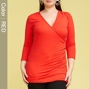 3/4 Sleeve Fitted Deep V-Neck Surplice Coral Tops for Women with Plus Size