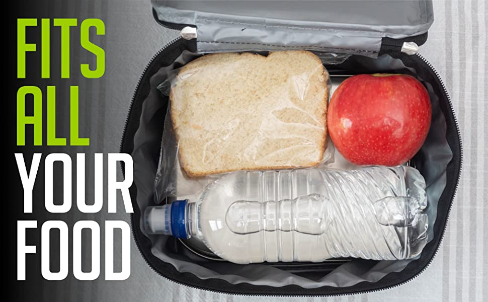 our lunch bag holds a full water bottle plus two lunches
