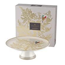 Footed Cake Plate - Light Grey sara miller portmeirion chelsea 22 carat gold green navy grey pink