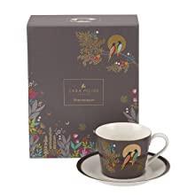 Tea Cup & Saucer Dark Grey sara miller portmeirion chelsea 22 carat gold green navy grey green pink