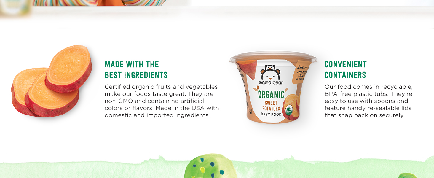 Baby food made in the USA, Baby stage 2, Mama bear organic baby food, Mama bear organic