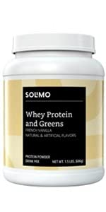 Solimo whey protein plus greens blend