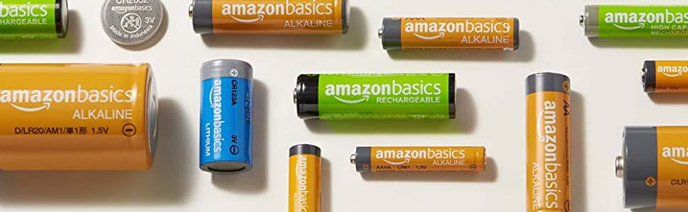 Amazonbasics rechargeable, alkaline, lithium and coin cell batteries