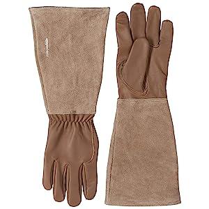 AmazonBasics Leather Gardening Gloves with Forearm Protection