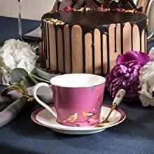 Tea Cup & Saucer - Pink sara miller portmeirion chelsea 22 carat gold green navy grey green pink