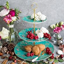 3 tier cake stand sara miller portmeirion chelsea 22 carat gold green navy grey green pink
