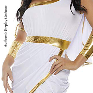 Golden and white goddess costume