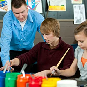 Art teacher and two students