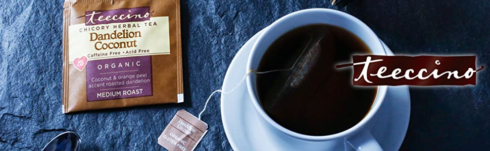 Teeccino Chicory Herbal Coffees and Roasted Herbal Teas are caffeine-free, acid-free, and prebiotic.