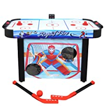 Air hockey table with practice nets