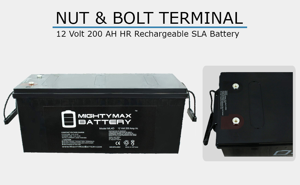 replacement rechargeable battery 12 v 200 ah battery nut bolt terminal battery maintenance free