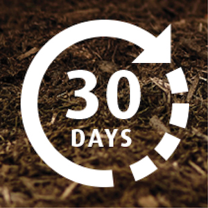 Close-up image of mulch bed with 30 days graphic overlay