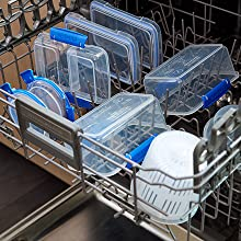 Sistema Klip It Top-rack dishwasher, freezer, and microwave safe.