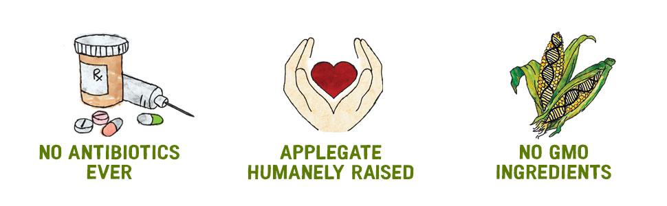 Applegate organic natural meat no nitrites nitrates GMO ingredients antibiotics abf humanely raised