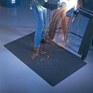 Welding mat, weld mat, spark mat, anti fatigue mat, fatigue mat, welders mat, welding station mat