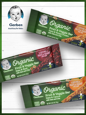 Fruit & Veggie Bar, toddler veggie snacks, toddler healthy snacks, chia bars, organic toddler snacks