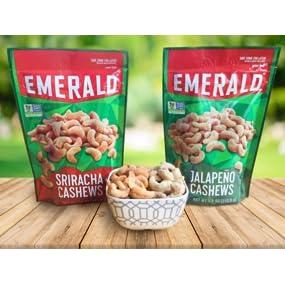 sriracha nuts, jalapeno cashews, emerald nuts, cashews