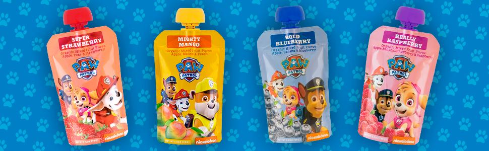 PAW Patrol fruit pouches, Mango, Strawberry, Blueberry, Raspberry