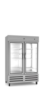 Stainless Steel Reach-In Commercial Refrigerator, 2 Glass Doors, 49 cu.ft