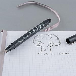 journal, pen, ink, pointliner, pentel