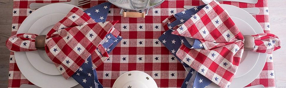 white napkins,red napkins,red white and blue,decorations,table napkins,fourth of july,buffalo check
