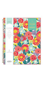 blue sky planners and calendars, day designer floral sketch collection, 2020-21, weekly monthly