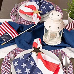 picnic napkins,red checkered napkins,oversized check,red white blue,4th of july table cloth